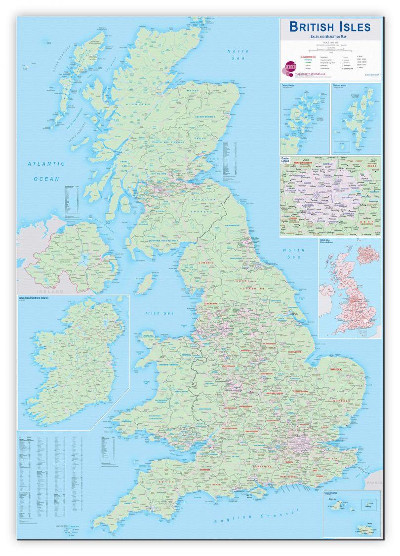 Huge British Isles Sales and Marketing Map (Canvas)