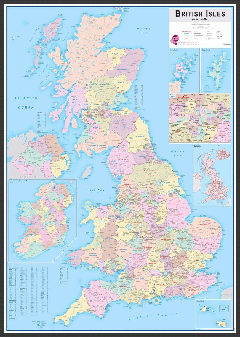 Large British Isles Administrative Map (Pinboard & wood frame - Black)