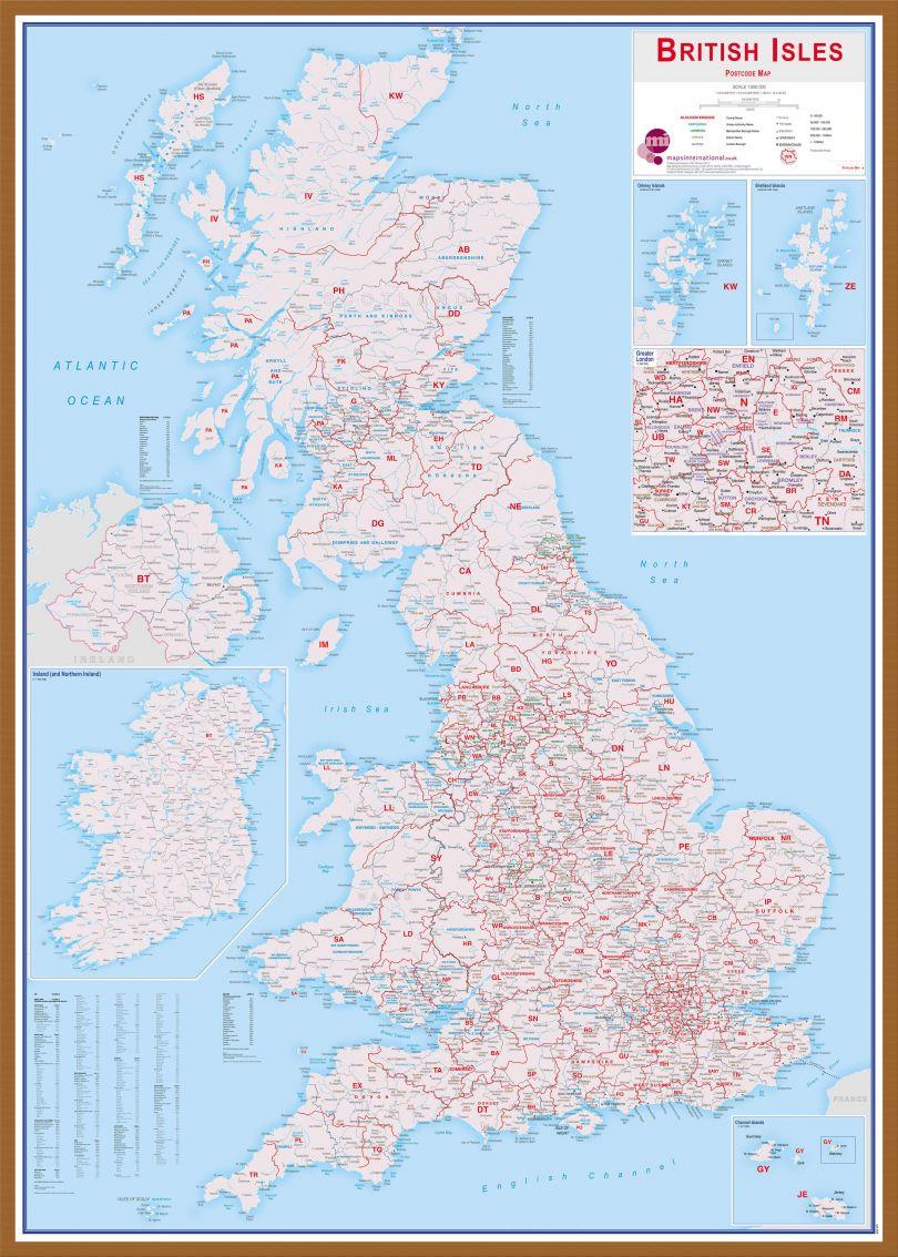 Large British Isles Postcode Map (Wood Frame - Teak)