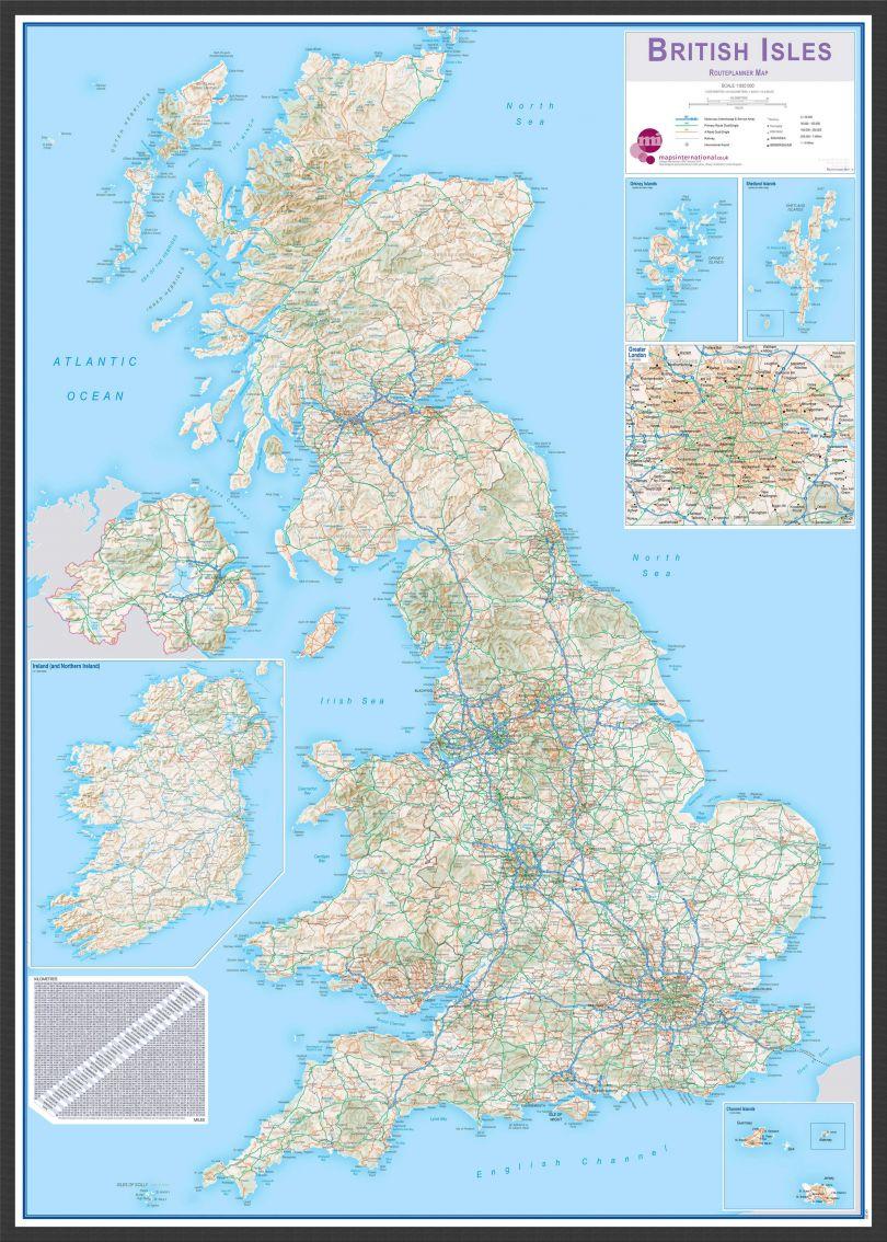 Large British Isles Routeplanning Map (Pinboard & wood frame - Black)