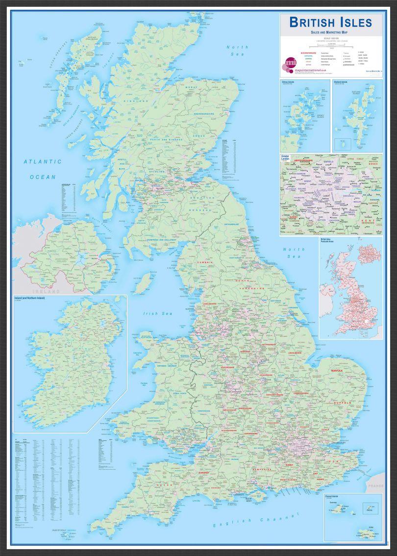 Large British Isles Sales and Marketing Map (Wood Frame - Black)