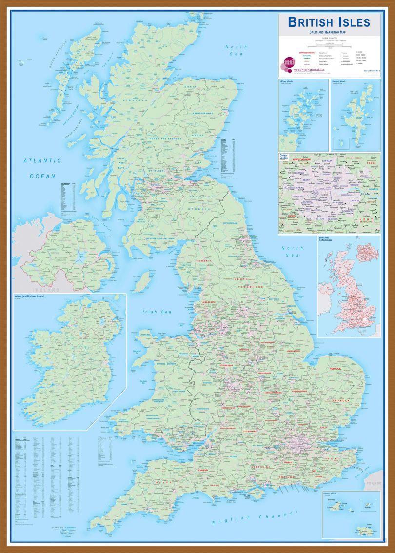 Large British Isles Sales and Marketing Map (Wood Frame - Teak)
