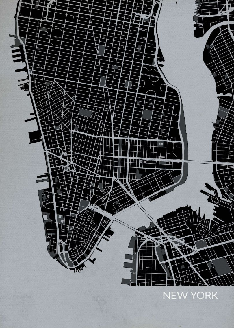 New York City Street Map Print Charcoal