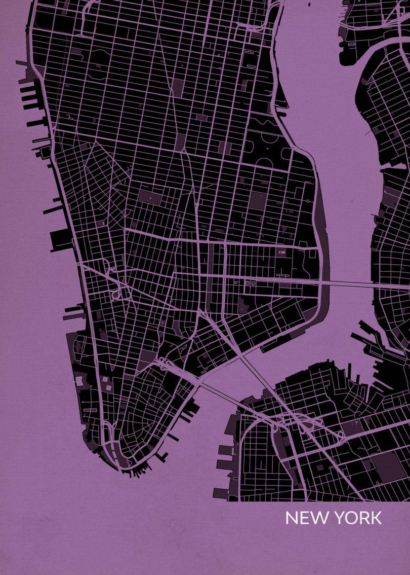New York City Street Map Print Mauve