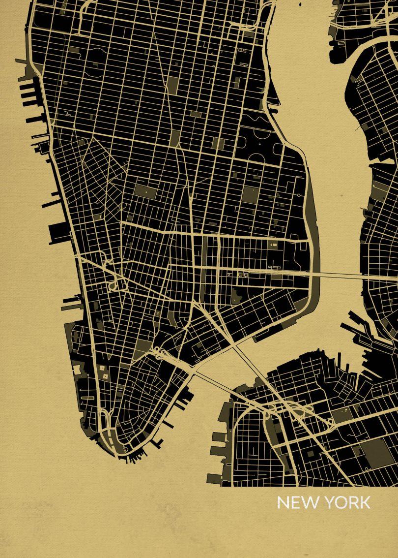 A4 New York City Street Map Print Straw (Matt Art Paper)