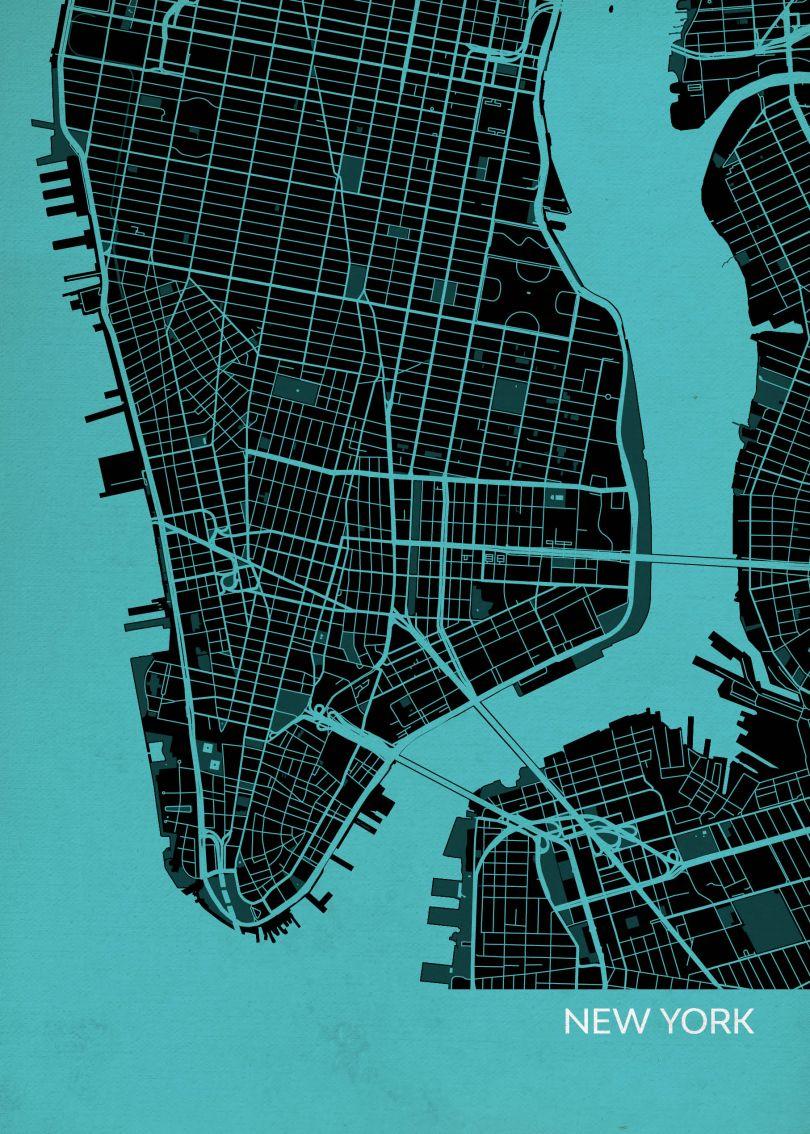 A4 New York City Street Map Print Turquoise (Matt Art Paper)