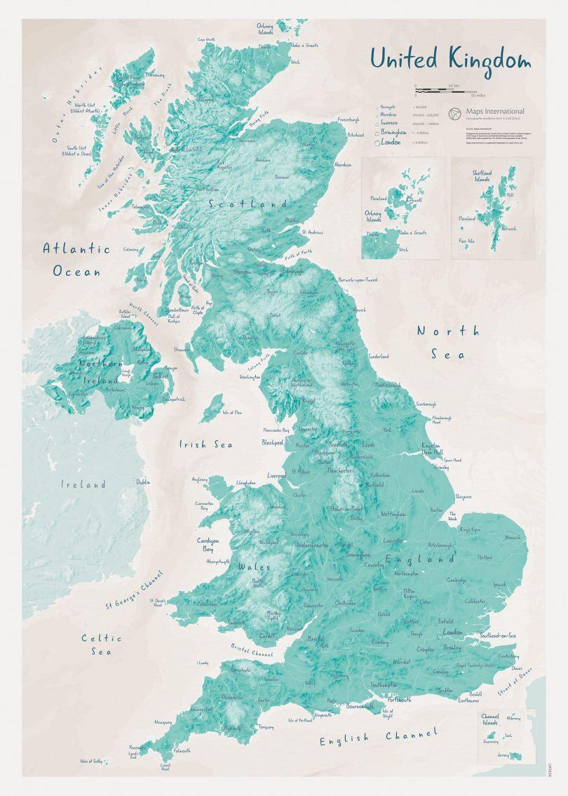 UK as Art Map - Tarragon (Matt Art Paper)