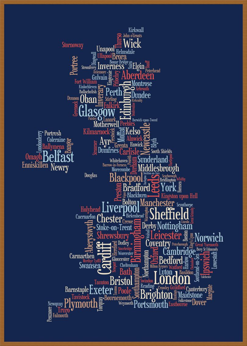 Large Great Britain UK City Text Art Map - Blue (Wood Frame - Teak)