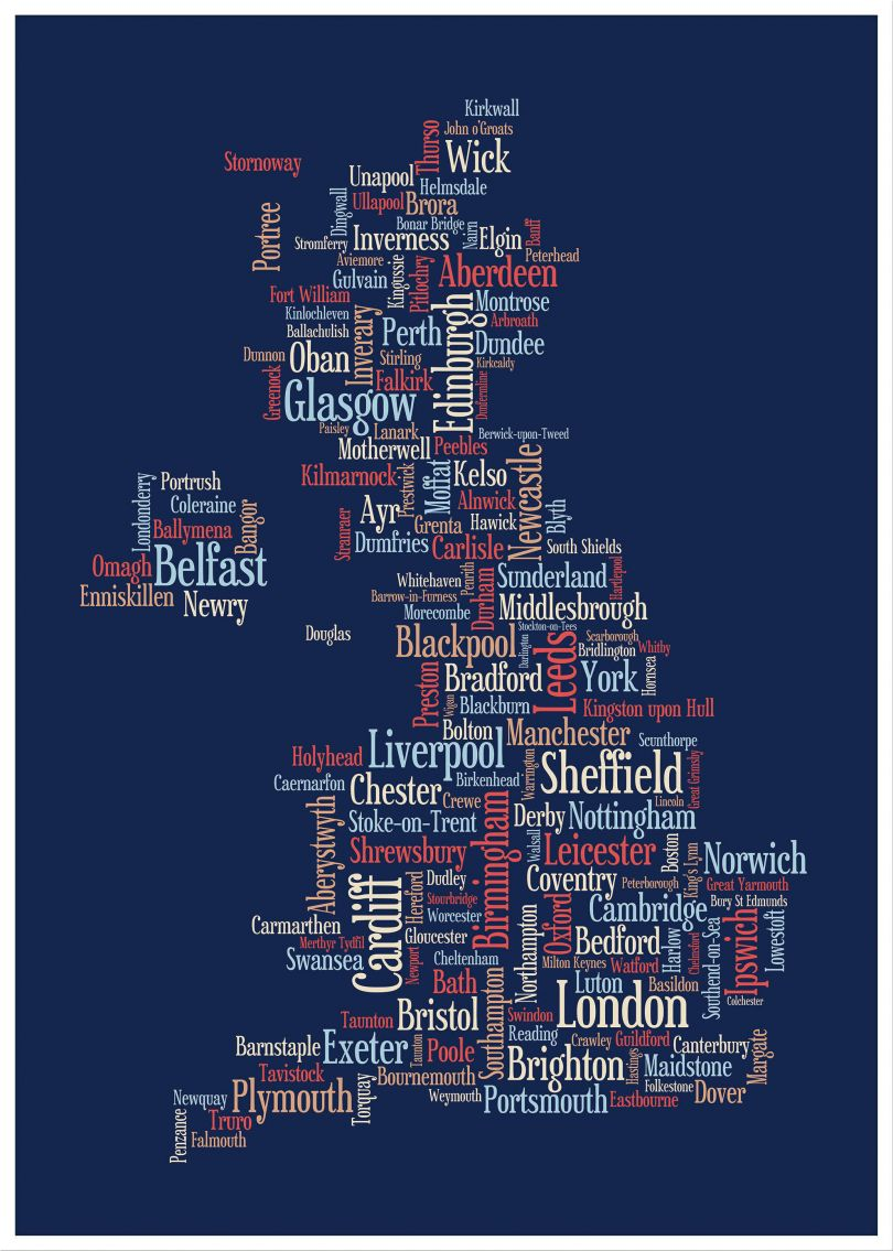 Large Great Britain UK City Text Art Map - Blue (Wood Frame - White)