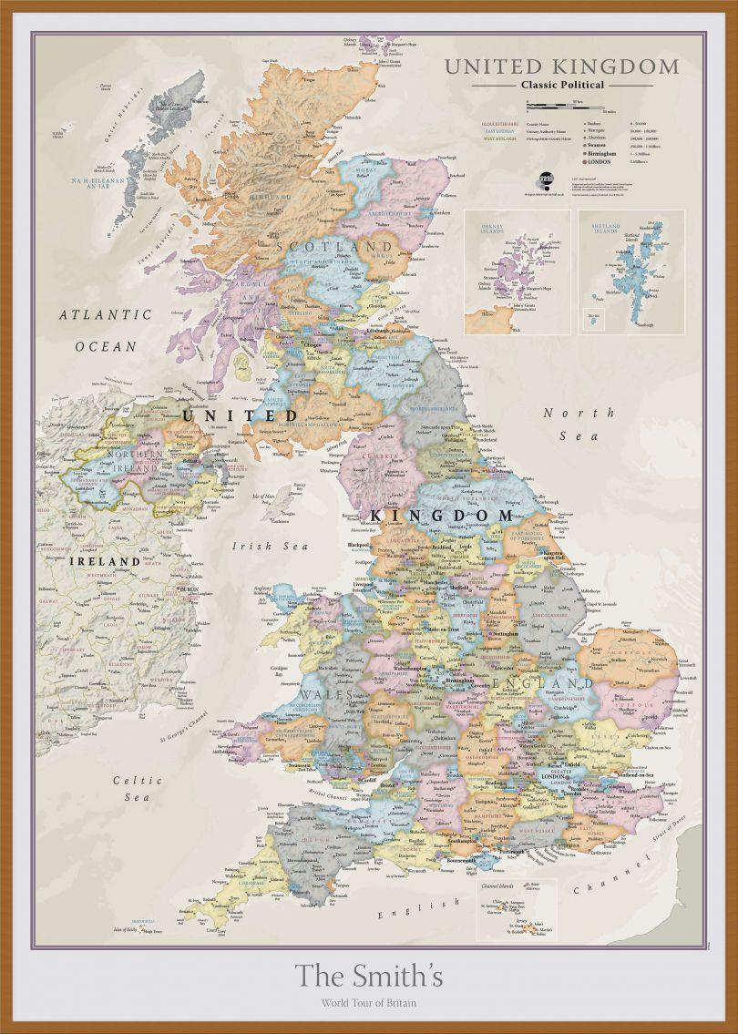 Large Personalised UK Classic Wall Map (Wood Frame - Teak)