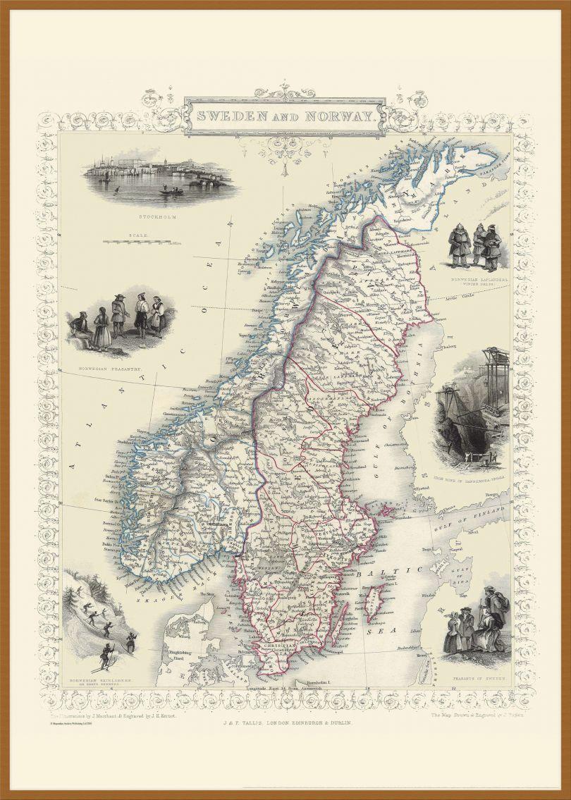 Large Vintage John Tallis Map of Sweden and Norway 1851 (Pinboard & wood frame - Teak)