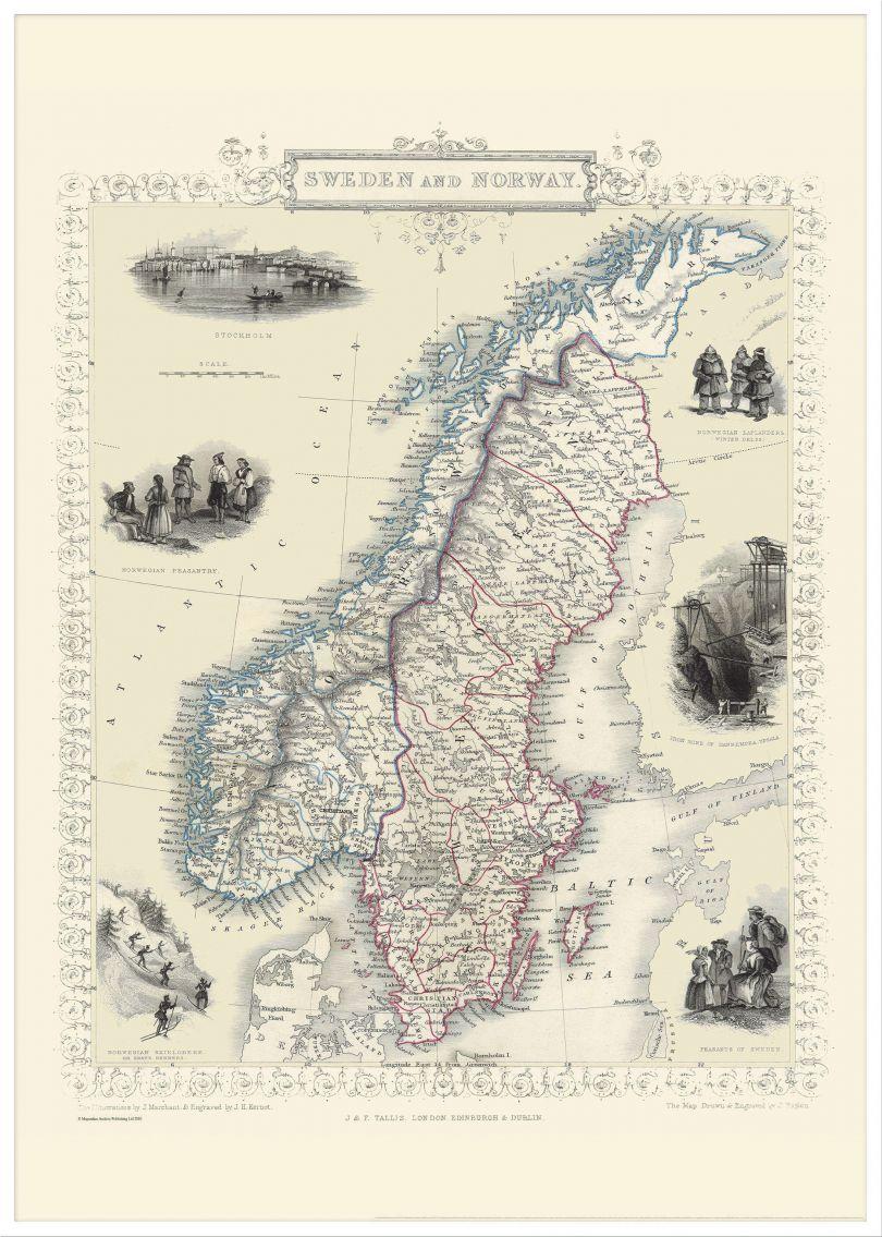 Large Vintage John Tallis Map of Sweden and Norway 1851 (Pinboard & wood frame - White)