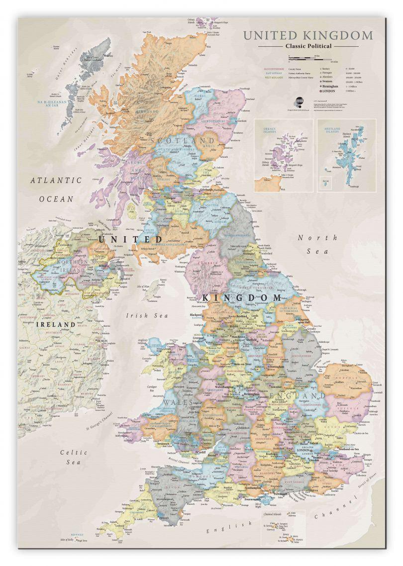 Medium UK Classic Wall Map (Canvas)