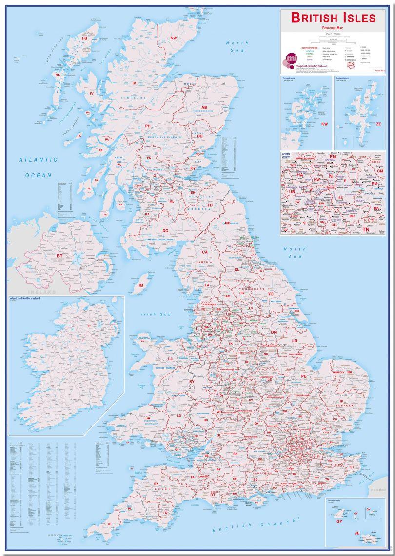 Large British Isles Postcode Map (Pinboard)