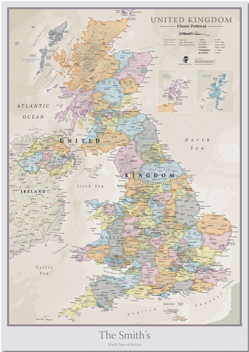 Huge Personalised UK Classic Wall Map (Pinboard)