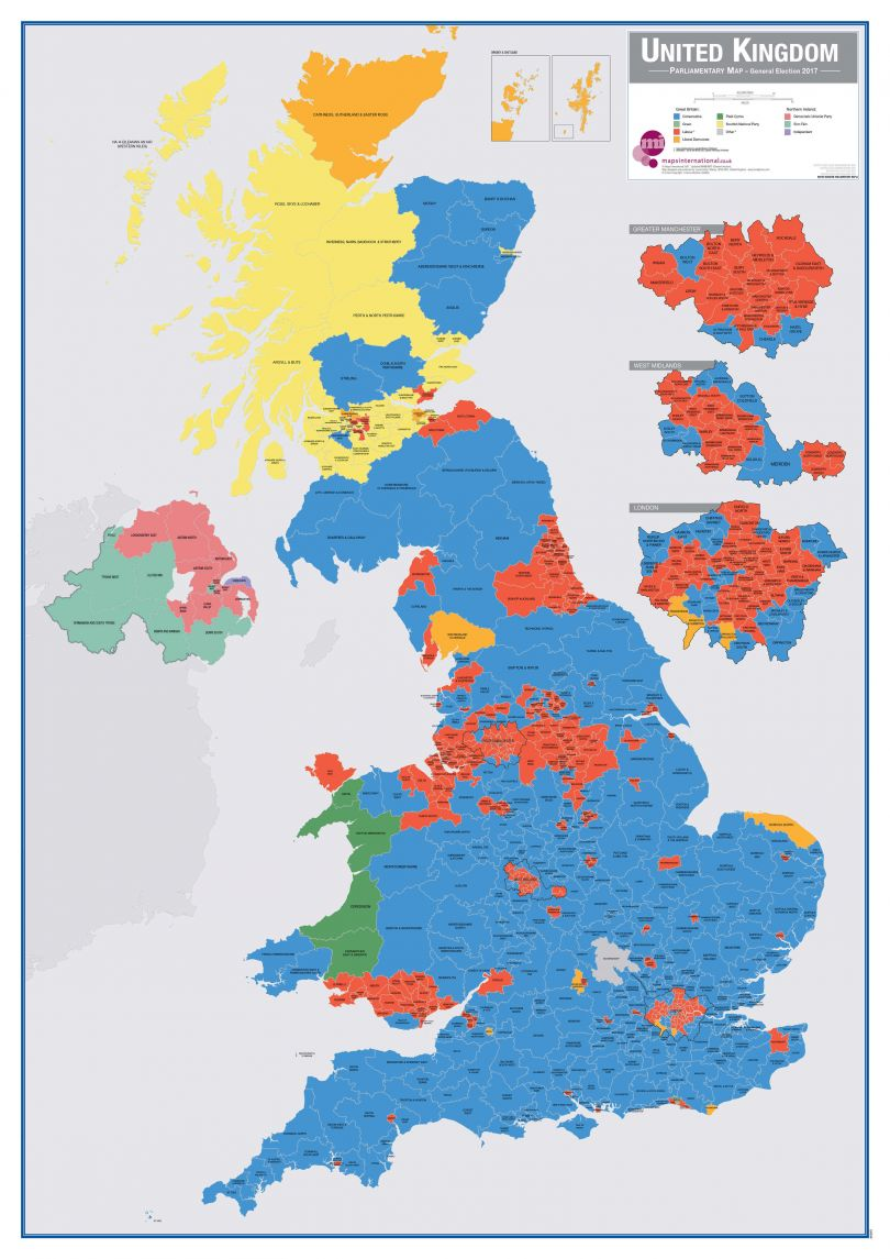 Large UK Parliamentary Constituency Boundary Wall Map (December 2019 results) (Raster digital)