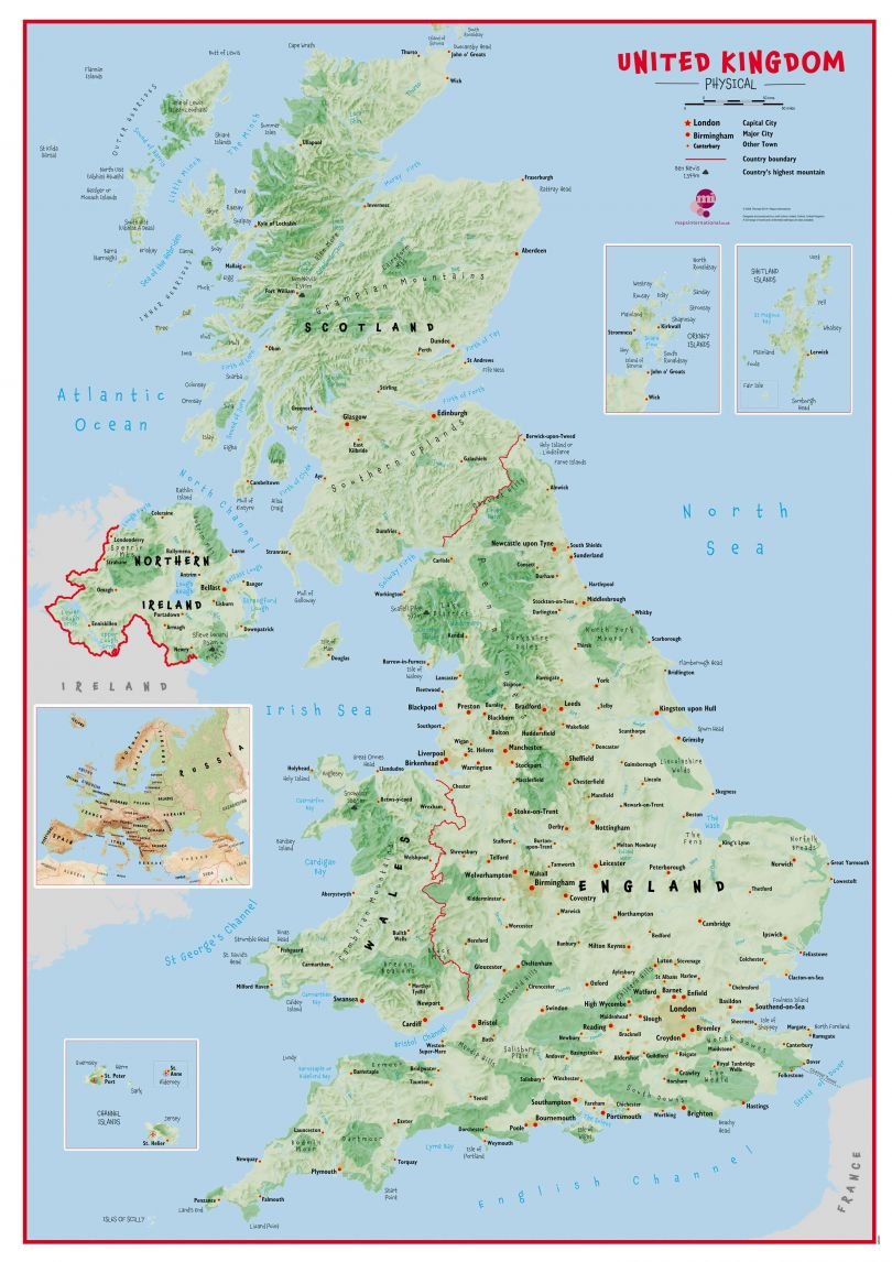 Huge Primary UK Wall Map Physical (Paper)