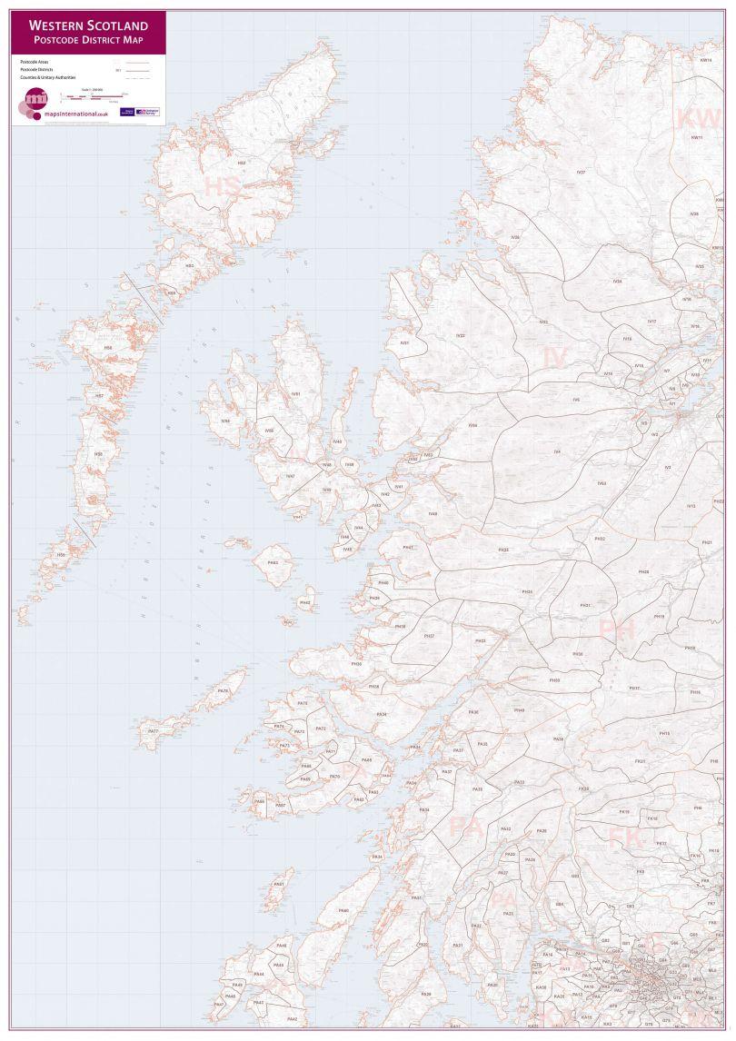Western Scotland Postcode District Map