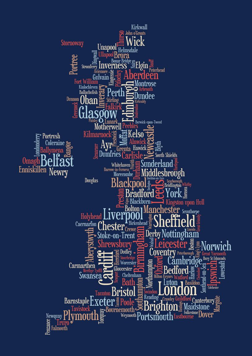 Small Great Britain UK City Text Art Map - Blue (Rolled Canvas - No Frame)