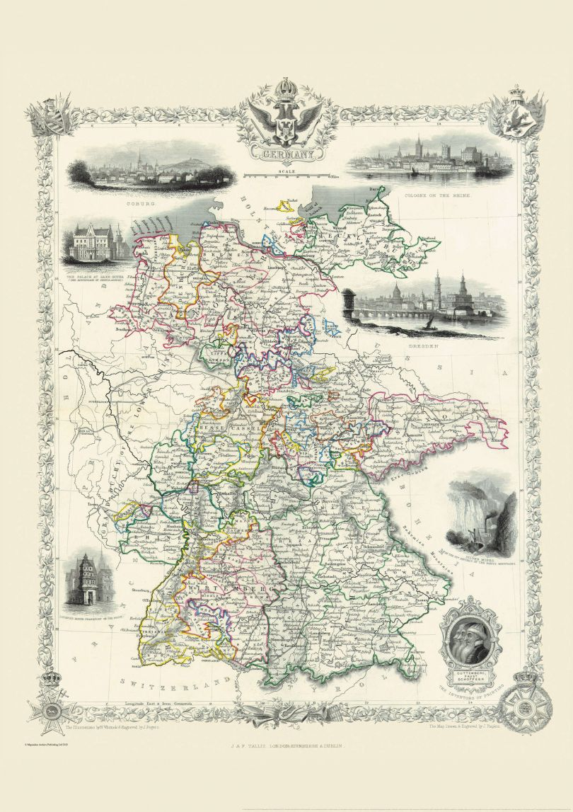 Vintage John Tallis Map of Germany 1851