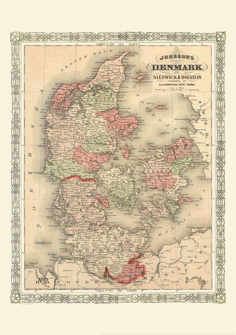 Vintage Johnsons Map of Denmark