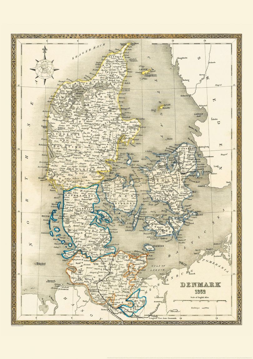Vintage Map of Denmark