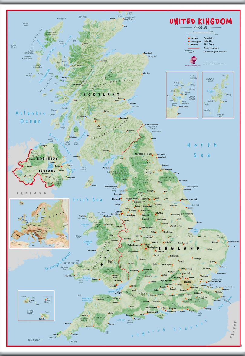 Large Primary UK Wall Map Physical (Hanging bars)