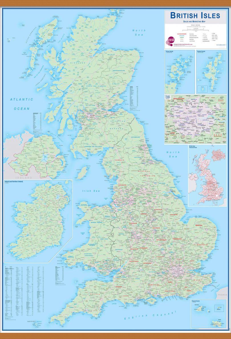 Huge British Isles Sales and Marketing Map (Wooden hanging bars)