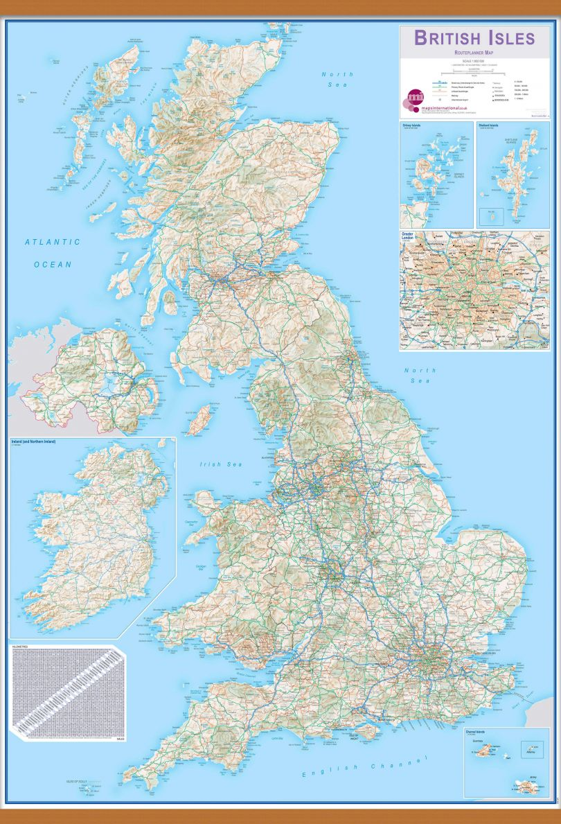 Huge British Isles Routeplanning Map (Wooden hanging bars)