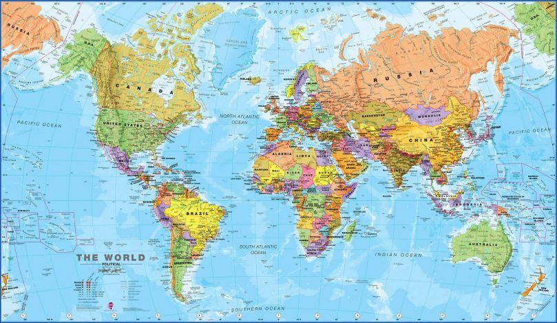 Medium World Wall Map Political (Rolled Canvas - No Frame)