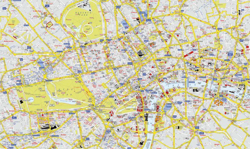 Huge A-Z Visitors' Map London (Rolled Canvas - No Frame)