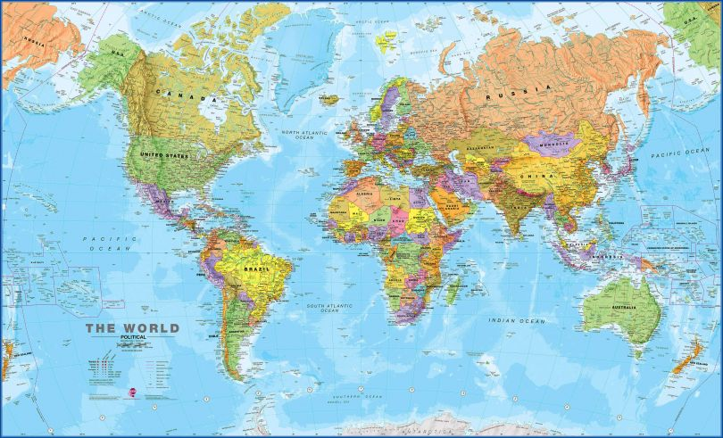Large World Wall Map Political (Magnetic board and frame)