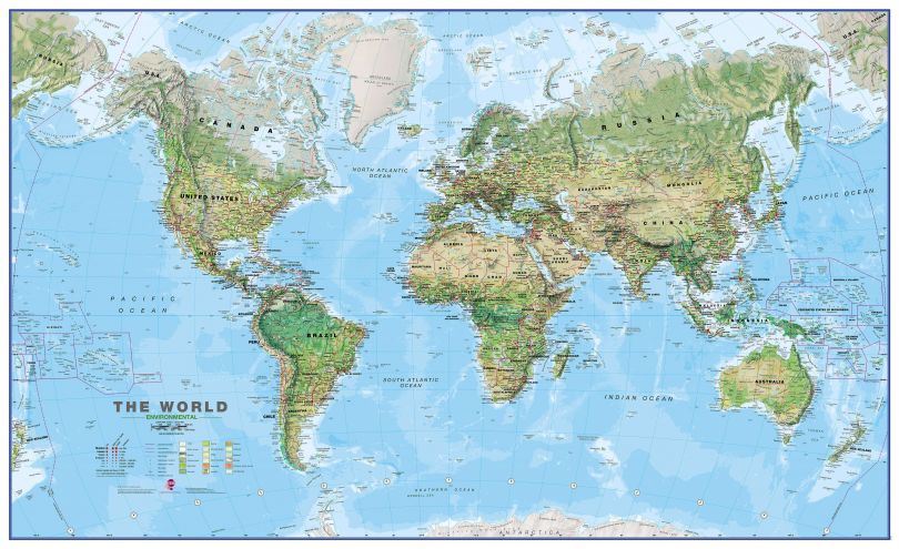 Large World Wall Map Environmental (Magnetic board and frame)