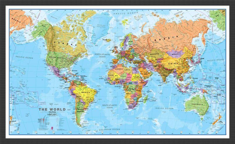 Medium World Wall Map Political (Pinboard & wood frame - Black)