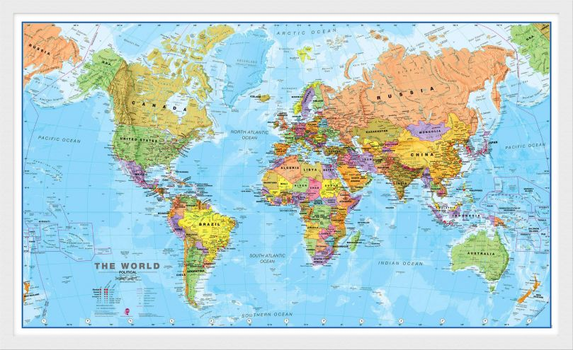 Medium World Wall Map Political (Wood Frame - White)