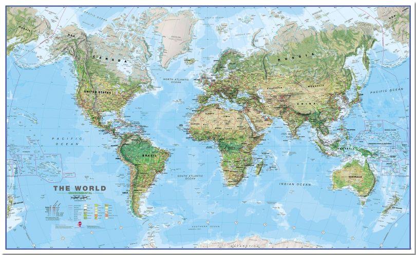 Huge World Wall Map Environmental (Pinboard)