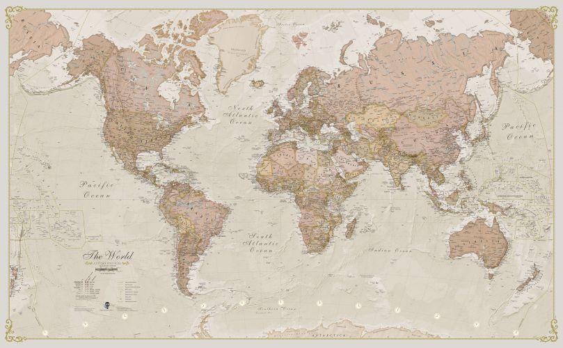 Medium Antique World Map (Laminated)