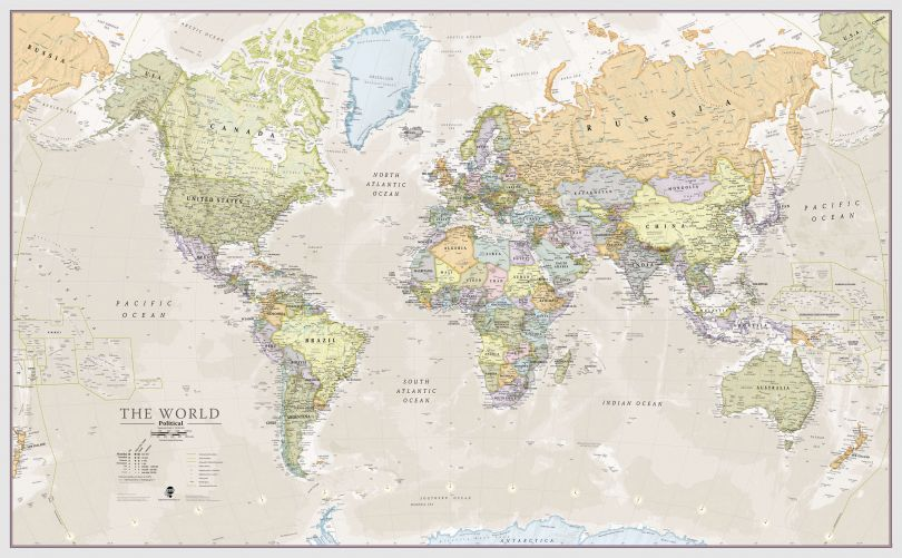 Medium Classic World Map (Rolled Canvas - No Frame)