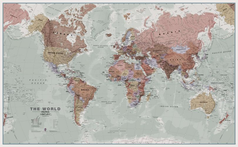 Large Executive World Wall Map Political (Paper)