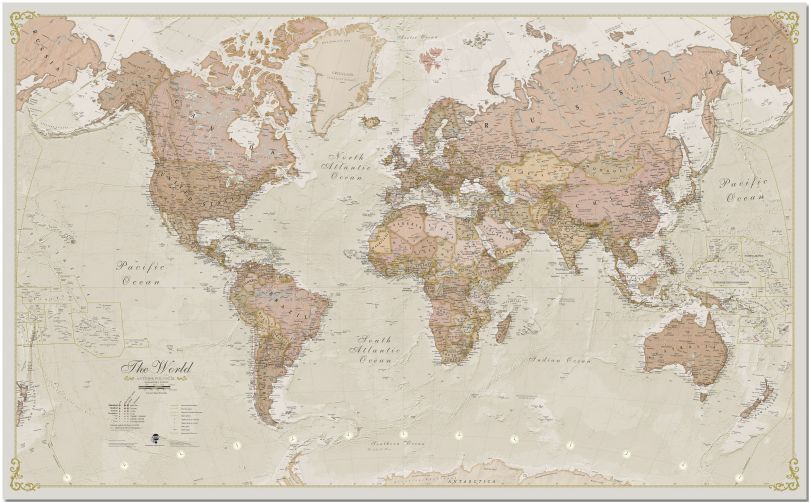 Large Antique World Map (Pinboard)