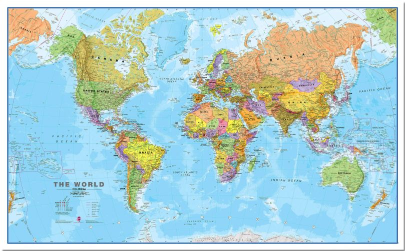 Large World Wall Map Political (Pinboard)