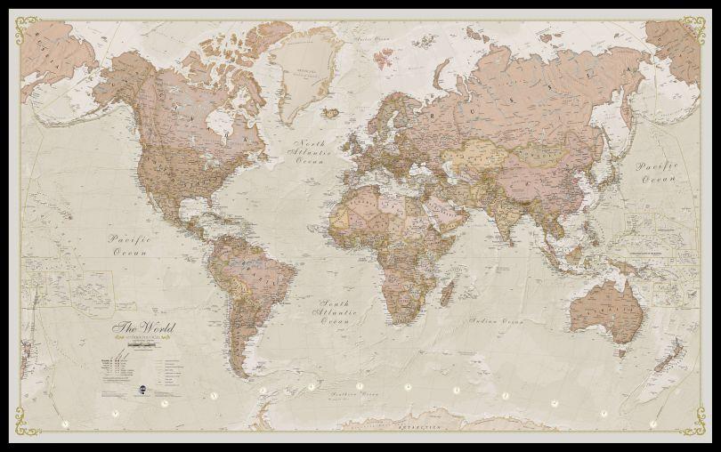 Large Antique World Map (Pinboard & framed - Black)