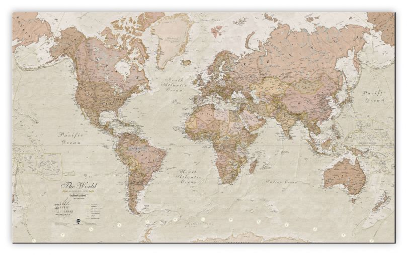 Medium Antique World Map (Rolled Canvas - No Frame)