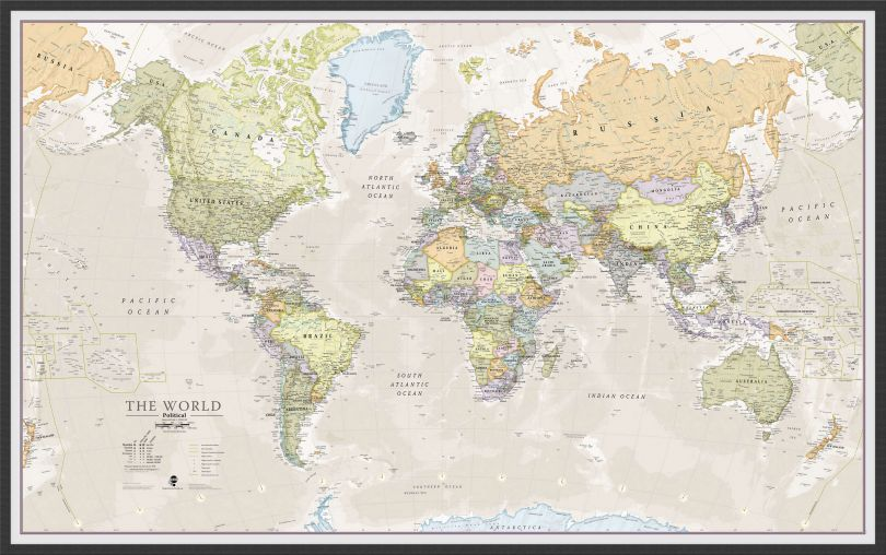 Large Classic World Map (Pinboard & wood frame - Black)