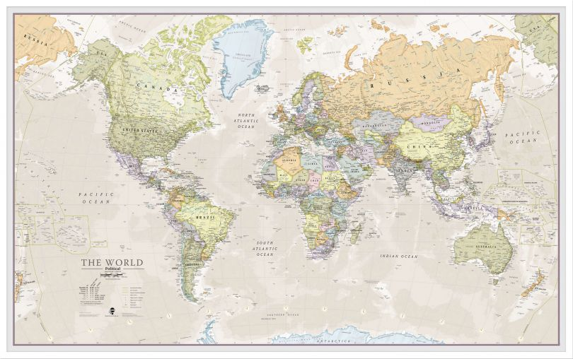 Large Classic World Map (Pinboard & wood frame - White)