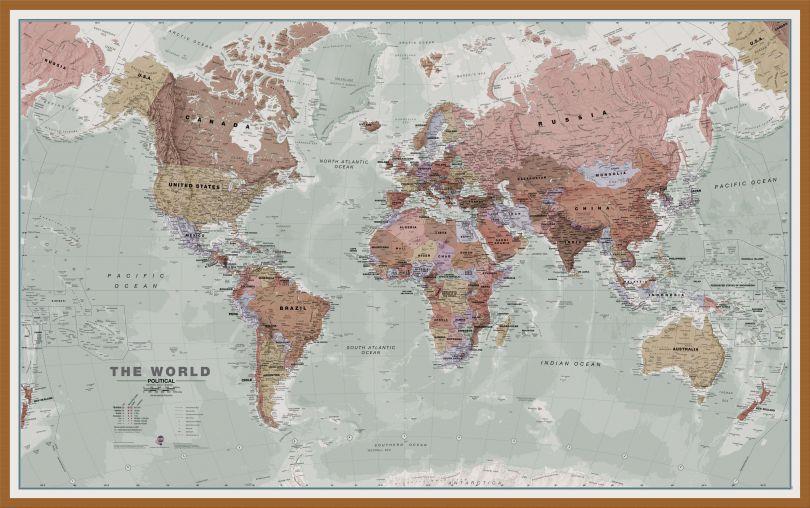 Large Executive World Wall Map Political (Wood Frame - Teak)