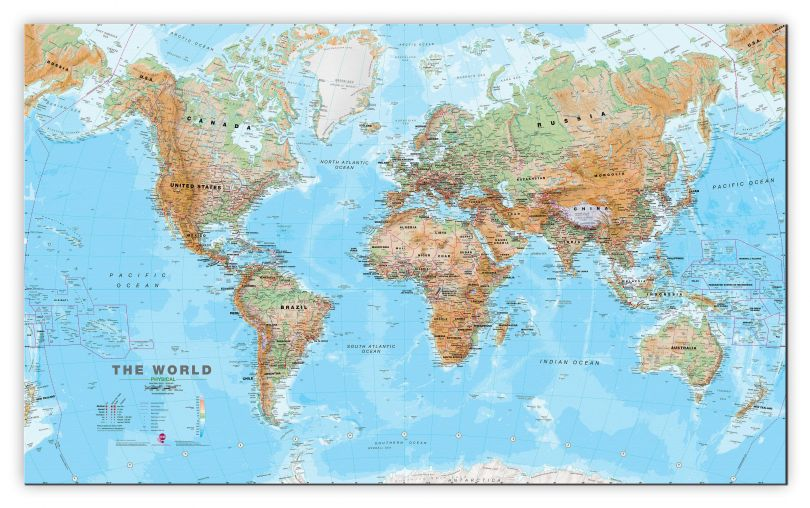 Huge World Wall Map Physical (Canvas)