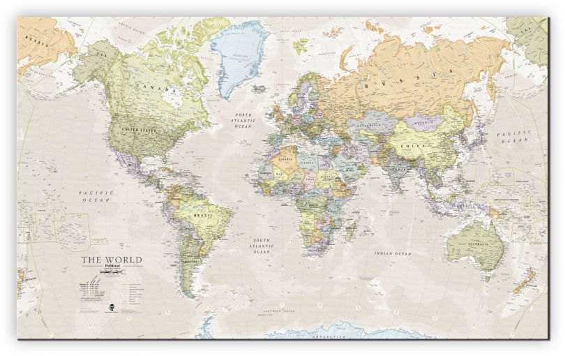 Small Classic World Map (Canvas)