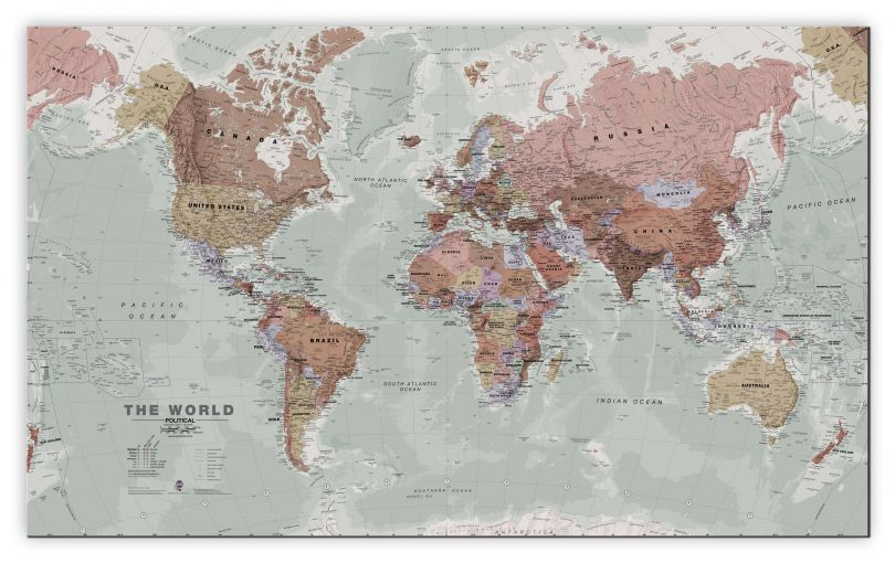 Huge Executive World Wall Map Political (Canvas)
