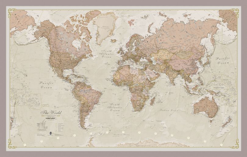Small Antique World Map (Pinboard & framed - Silver)